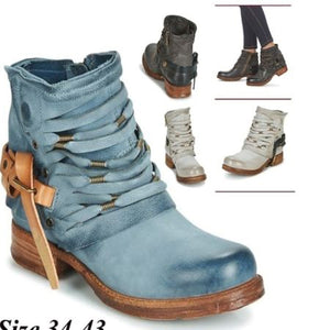 Woman Ladies Low-heeled Side Zip Boots in Autumn and Winter
