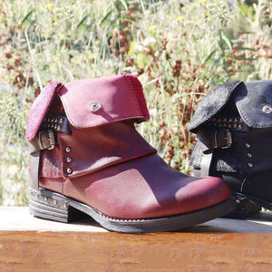 Woman Ladies Boots Autumn/Winter Belt Buckle Rivets Low Heel Martin Boots