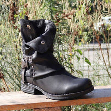 Load image into Gallery viewer, Woman Ladies Boots Autumn/Winter Belt Buckle Rivets Low Heel Martin Boots