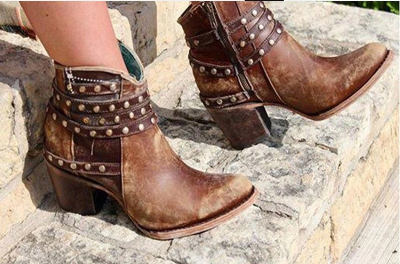 Woman Ladies Pu Leather Belt Rivet Thick Heel Ankle Boots
