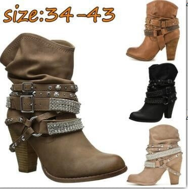 Woman Ladies Thick Heel High Heel Round Head Rivet Rhinestone Short Boots
