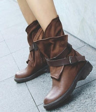 Load image into Gallery viewer, Woman Woman Round Head Artificial Leather Belt Buckle Square Heel Short Boots