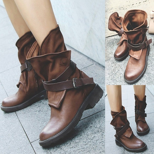 Woman Woman Round Head Artificial Leather Belt Buckle Square Heel Short Boots