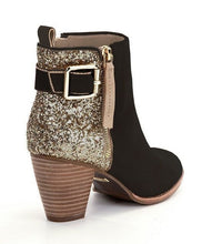 Load image into Gallery viewer, Woman Ladies Round-head Sequins Thick and Side Zipper Short Boots