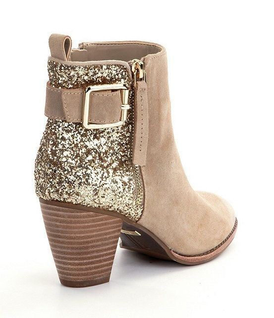 Woman Ladies Round-head Sequins Thick and Side Zipper Short Boots