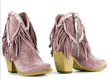 Load image into Gallery viewer, Woman Ladies Fringe Thick Heel Short Boots
