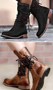 Woman Ladies Round Head Side Tie Rivet Square Heel Short Boots
