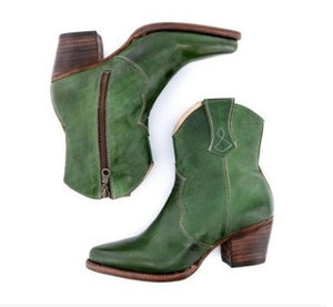 Woman Ladies High Heel Thick Heel Side Zipper Ankle Boots