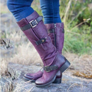 Woman's Buckle Belt Tall Riding Boots