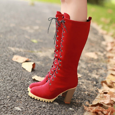 Woman's Cross Straps Platform Chunky Heels Tall Boots