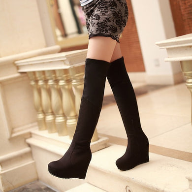 Woman's Platform Wedges Tall Boots