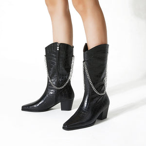 Square Head Snake Pattern Chain Mid Heel Medium Calf Boots