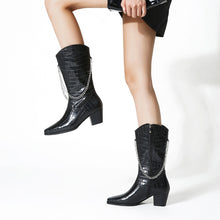 Load image into Gallery viewer, Square Head Snake Pattern Chain Mid Heel Medium Calf Boots