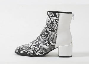 Round Toe Printed Low Heel Ankle Boots
