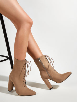Lace Up Suede High Heel Ankle Boots