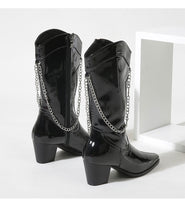 Load image into Gallery viewer, Chain Mid Heel Mid Calf Boots for Women