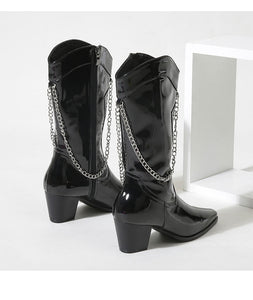 Chain Mid Heel Mid Calf Boots for Women