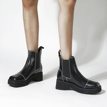 Load image into Gallery viewer, Round Head Thick Bottom Wedges Short Boots