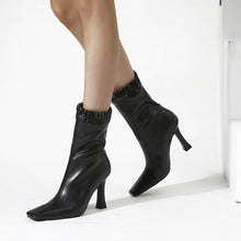 Load image into Gallery viewer, Square Toe Short Boots with High Heels