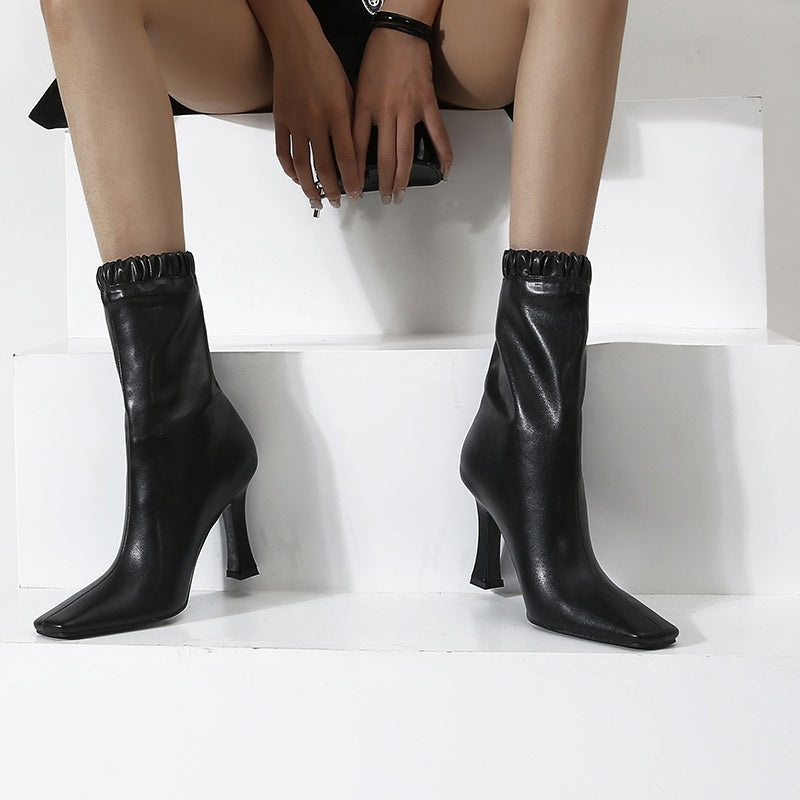 Square Toe Short Boots with High Heels