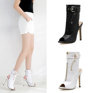Fish Mouth Pu Zipper High Heels Ankle Boots