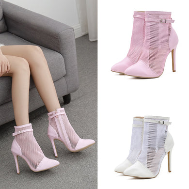 Roman Pointed Toe Mesh High Heel Short Boots