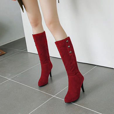 Suede High Heels Tall Boots Woman Shoes