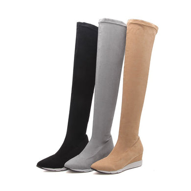 Woman's Wedges Heeled Thigh High Boots Shoes