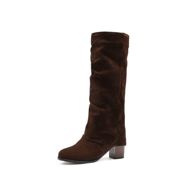 Woman's Chunky Heeled Tall Boots Shoes