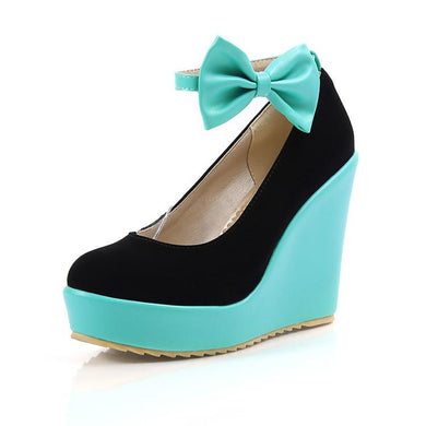 Casual Women's Bow Color Matching Platform Wedges Shoes