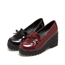 Load image into Gallery viewer, Casual Tassel Patent Leather High-heeled Women Platform Wedges Shoe