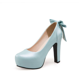 Sweet Bow Tie High Heeled Platform Pumps