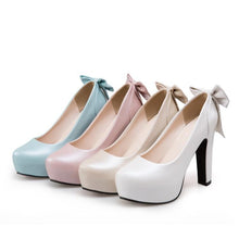 Load image into Gallery viewer, Sweet Bow Tie High Heeled Platform Pumps