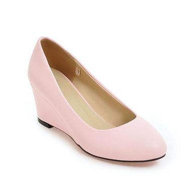 Girls Round Head Wedge Heel Woman's Pumps Shoes