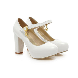 Sweet Princess High Heeled Round Head Platform Pumps