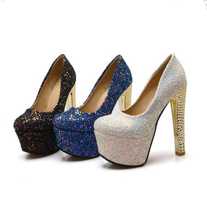 Sexy Super High Heeled Nightclub Sequins Wedding Shoes Platform Pumps