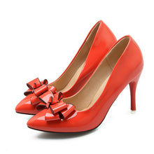 Load image into Gallery viewer, Bow Tie High Heel Patent Leather Women Pumps