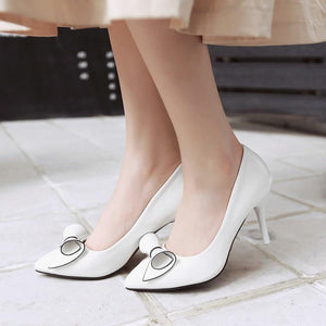 Sexy Pointed Toe Bow Tie Stiletto Heels Bridal Shoes Women Pumps