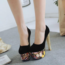 Load image into Gallery viewer, Women's Floral Printed Super High Heel Nightclub Chunkey Pumps Shoes