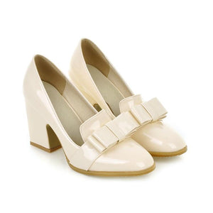 Chunky High Heeleds Bow Shallow Toe Women Pumps