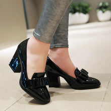 Load image into Gallery viewer, Chunky High Heeleds Bow Shallow Toe Women Pumps