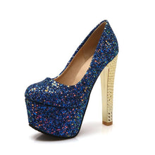Load image into Gallery viewer, Sexy Super High Heeled Nightclub Sequins Wedding Shoes Platform Pumps