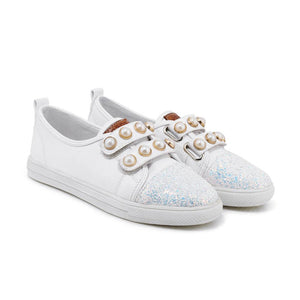 Girls Woman's Pearl Flats Shoes