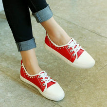 Load image into Gallery viewer, Girls Woman's Leisure Rhinestone Lace Up Flats Shoes