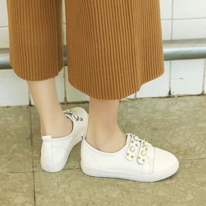 Girls Woman's Loafers White Flats Shoes
