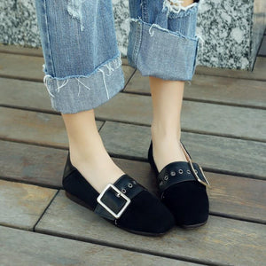 Girls Woman's Loafers Square Head  Flats Shoes