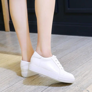 Girls Woman's Leisure Flat Bottom White Shoes