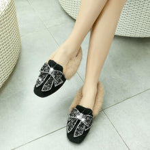 Load image into Gallery viewer, Girls Woman's Loafers Winter Bowtie Rhinestone Flats Shoes