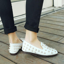 Load image into Gallery viewer, Girls Woman's Loafers Shallow-mouth Pearl Flats Shoes