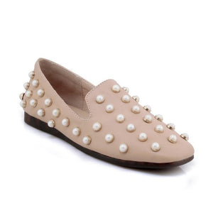 Girls Woman's Loafers Shallow-mouth Pearl Flats Shoes